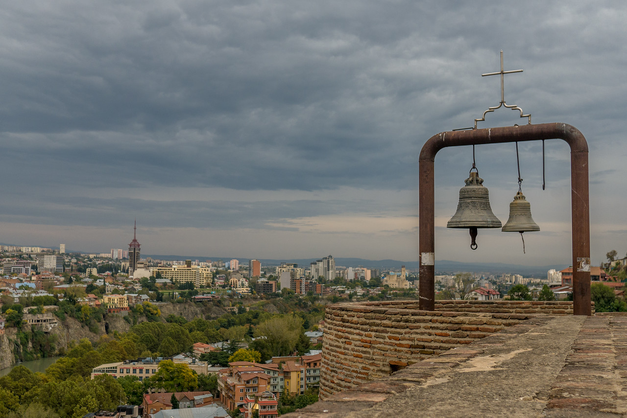 The Narikala Fortress sites high over the city offering gorgeous, sweeping views.   In the historic Old Town, Tbilisi, Georgia.