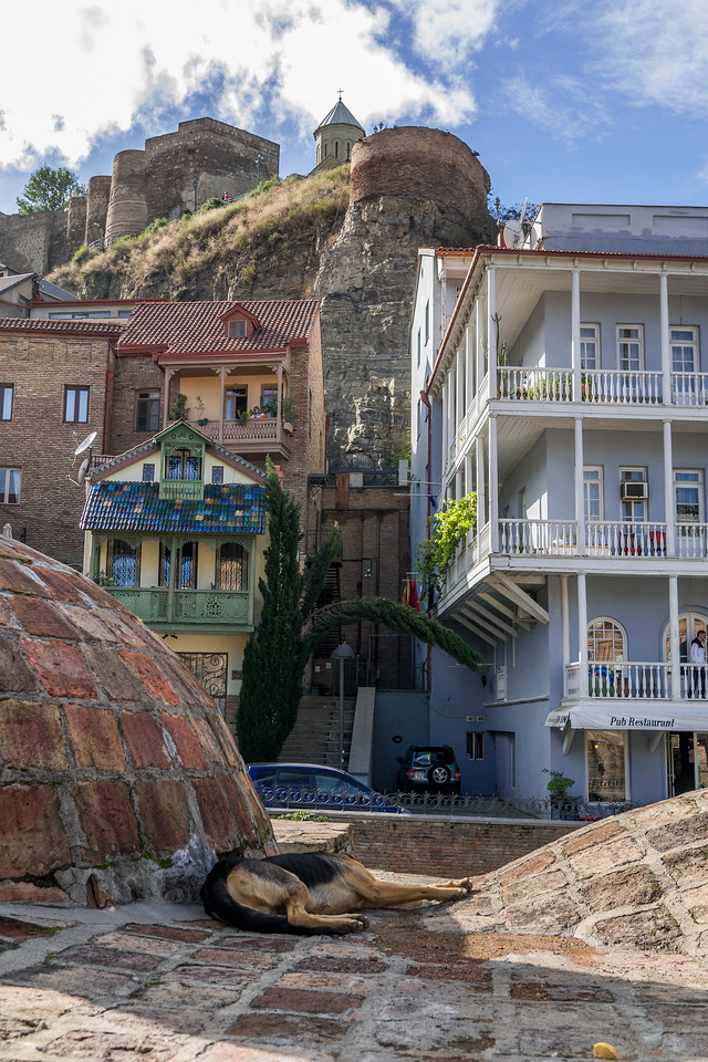 The Abanotubani sulfur baths in Old Town. In the historic Old Town, Tbilisi, Georgia.