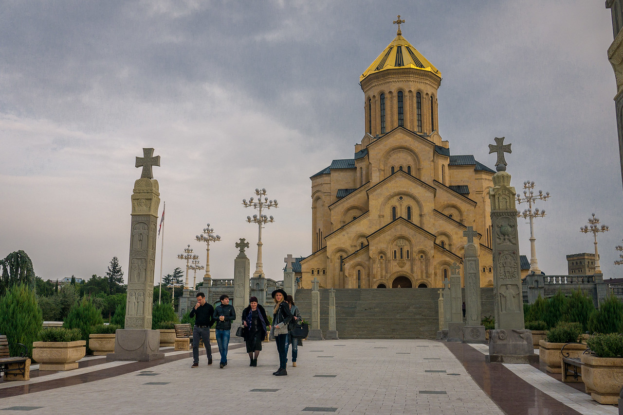 Sameba Cathedral, also known as the Holy Trinity Cathedral Church. Constructed in 2002, it's the largest church in Georgia and one of the most grandiose orthodox churches standing at 101 meters high. In the historic Old Town, Tbilisi, Georgia.