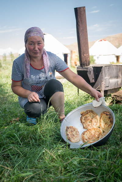 Learning to make traditional breads, like borsok, at Jaichy Yurt Camp  in South Shore of Lake Issyk-Kul.