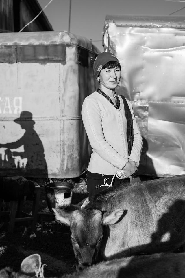 Woman with Cattle, Sunday Livestock Bazaar, Karakol