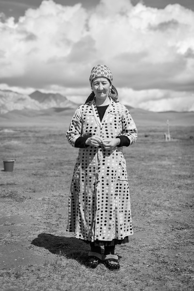 Local Woman in Polka-Dot Dress, Lake Song-Kul