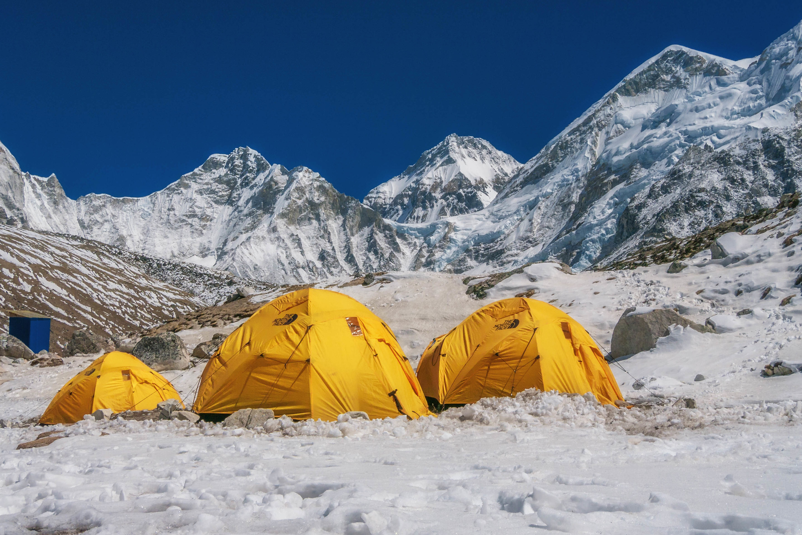 Expedition tents start to arrive at Gorak Shep near Mount Everest Base Camp
