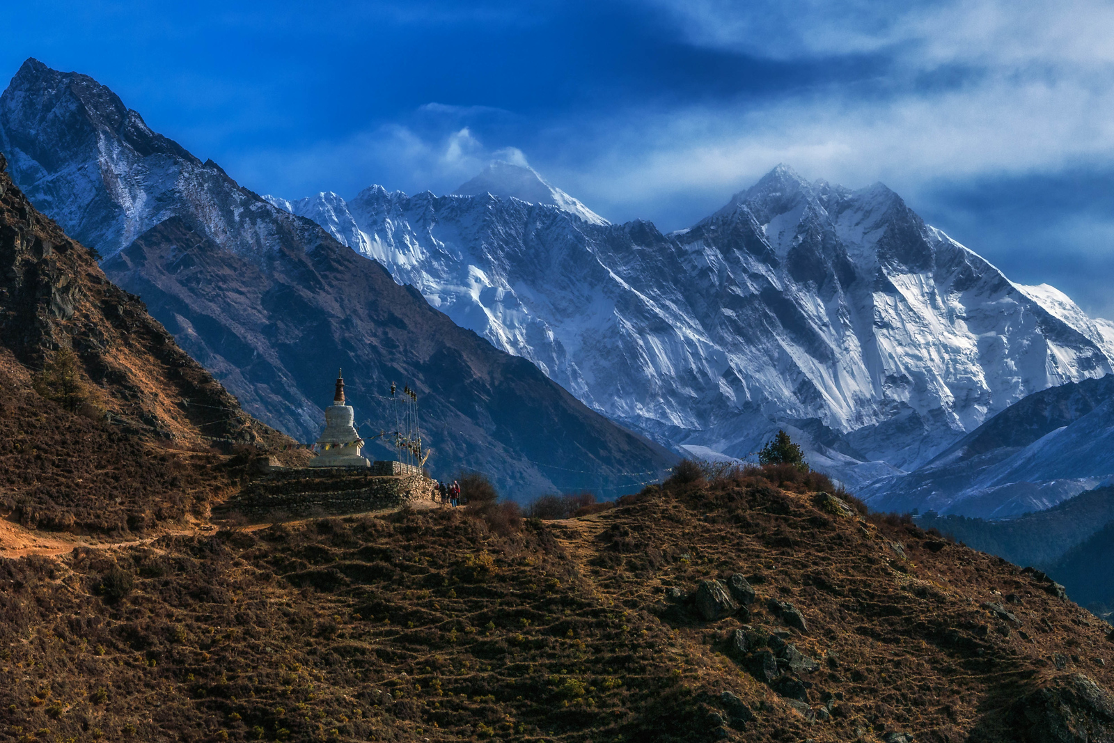 Stupas and prayer flags line the way to Mount Everest Base Camp