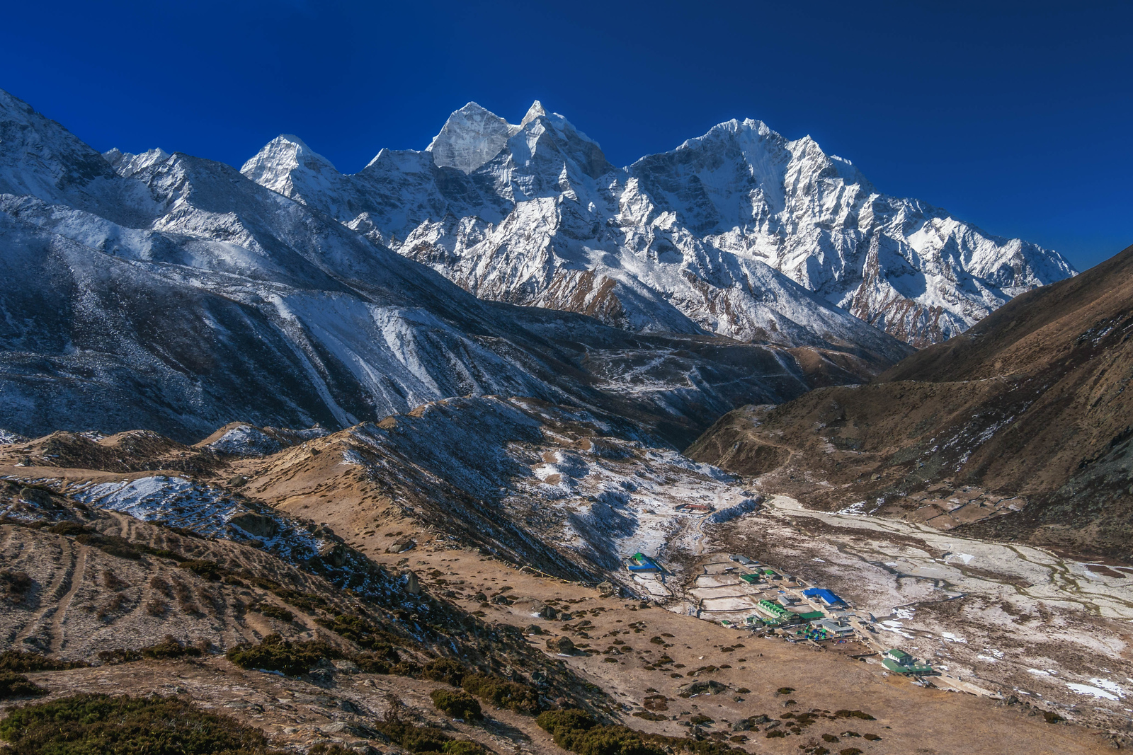 Snow starts to appear just above Dingboche on our Everest Base Camp Trek