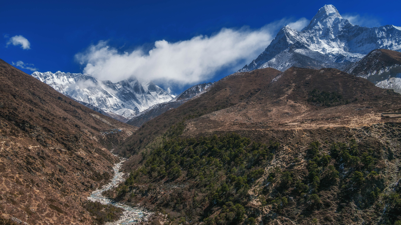 Rivers cut through the valley floor on the Mount Everest Base Camp Trek