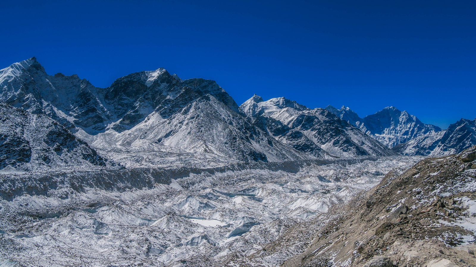Looking back across the Khumbu Ice Fall.
