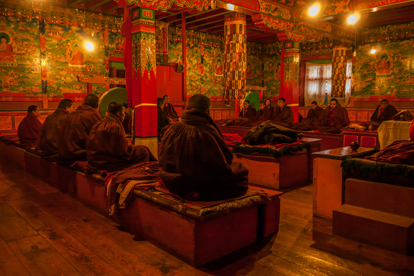 Monks pray at the Tengboche Monastery in the Everest Region.