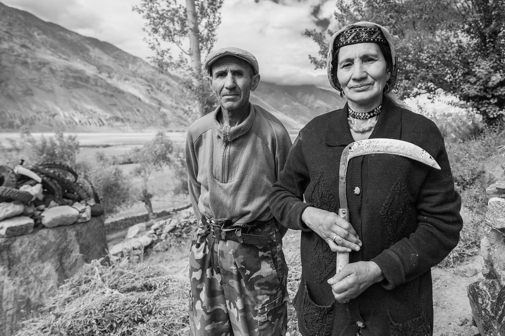 Elderly couple near a shrine, Zong, Wakhan Valley