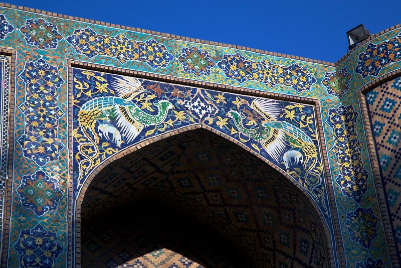Simurgh panel with floral motifs (tiles)