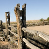 Post and rail fence. Dalhousie Springs ruins.