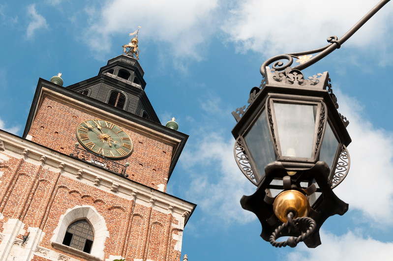 Street Light and Town Hall Tower, Krakow