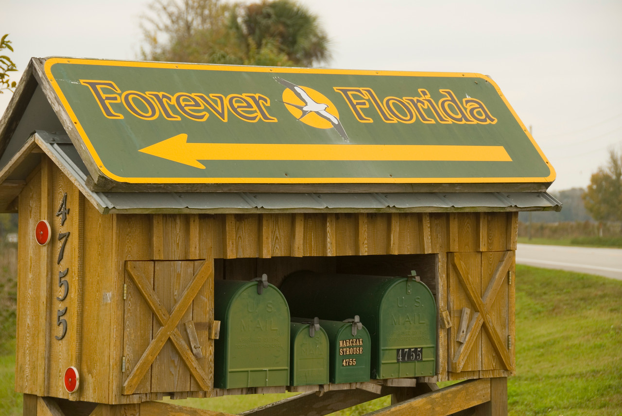 Forever Florida entrance on Canoe Creek Road<br /> location: Forever Florida<br /> PHOTO CREDIT: M. Timothy O'Keefe / Florida Trail Association