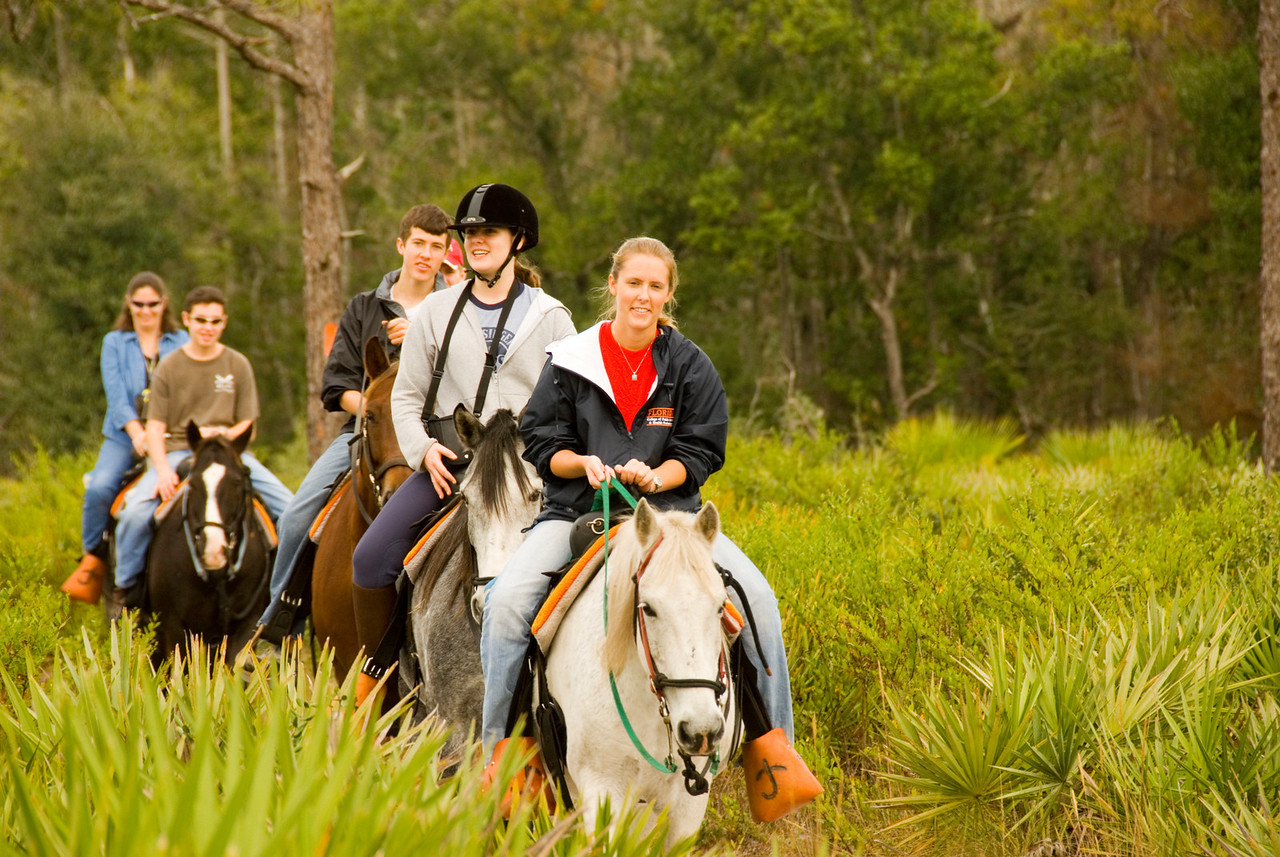 Trail riders at Forever Florida<br /> location: Forever Florida<br /> PHOTO CREDIT: M. Timothy O'Keefe / Florida Trail Association