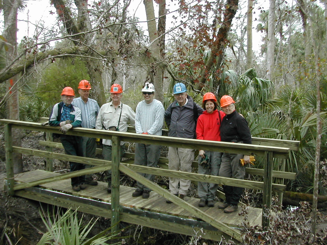 F-Troop finishes their very first bridge, the Penny Troll<br /> PHOTO CREDIT: Sandra Friend / Florida Trail Association
