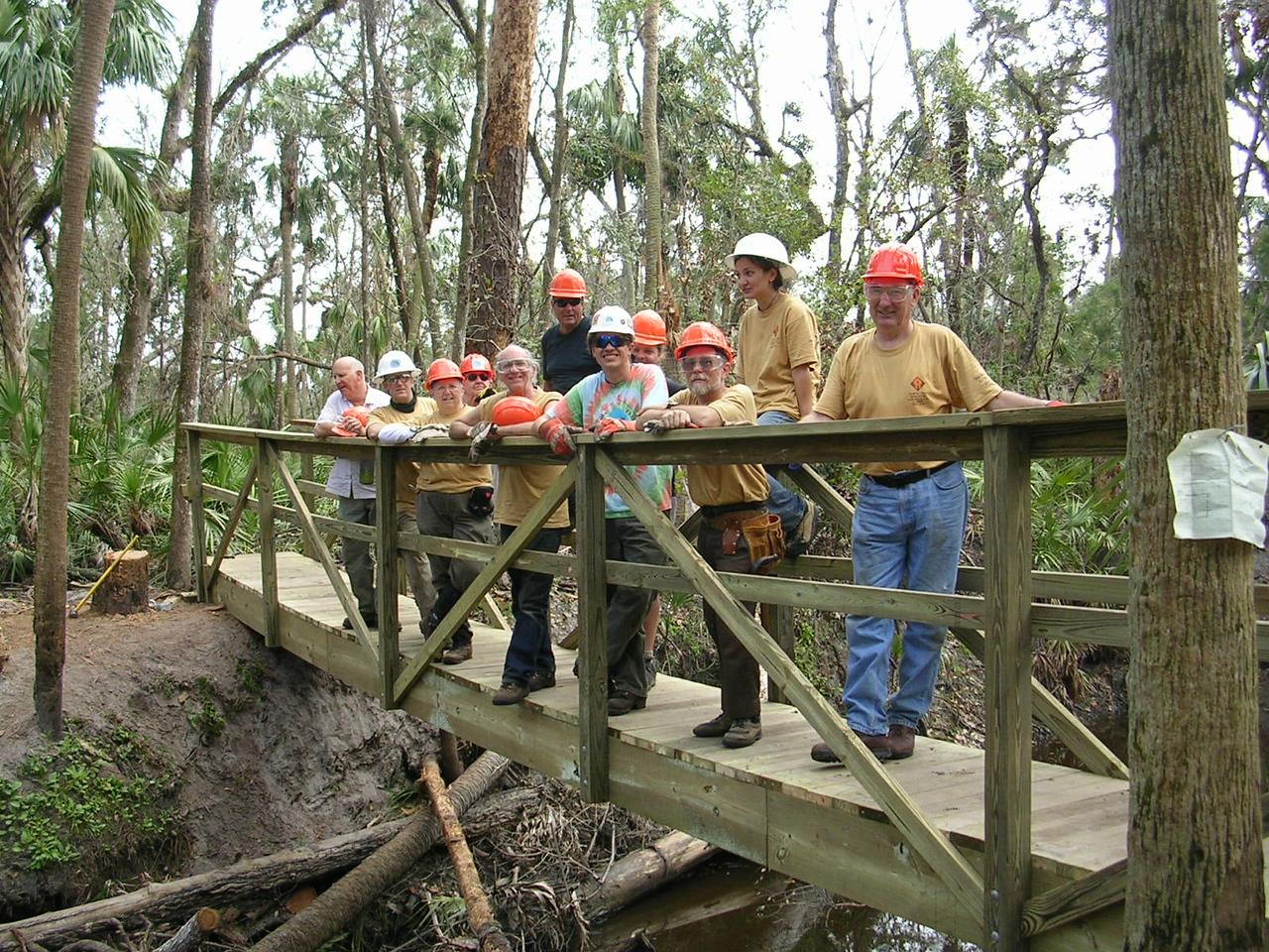 F-Troop completes their second bridge<br /> PHOTO CREDIT: Roger Werner / Florida Trail Association