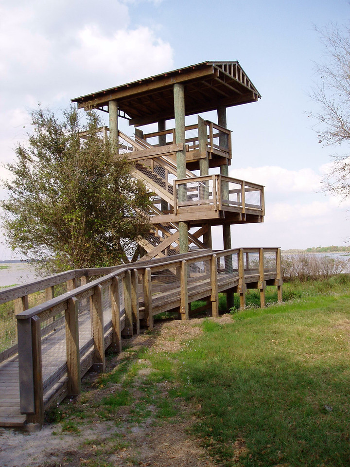 Observation tower over Lake Kissimmee prairies<br /> location: Prairie Lakes WMA<br /> photo credit: Deb Blick / Florida Trail Association