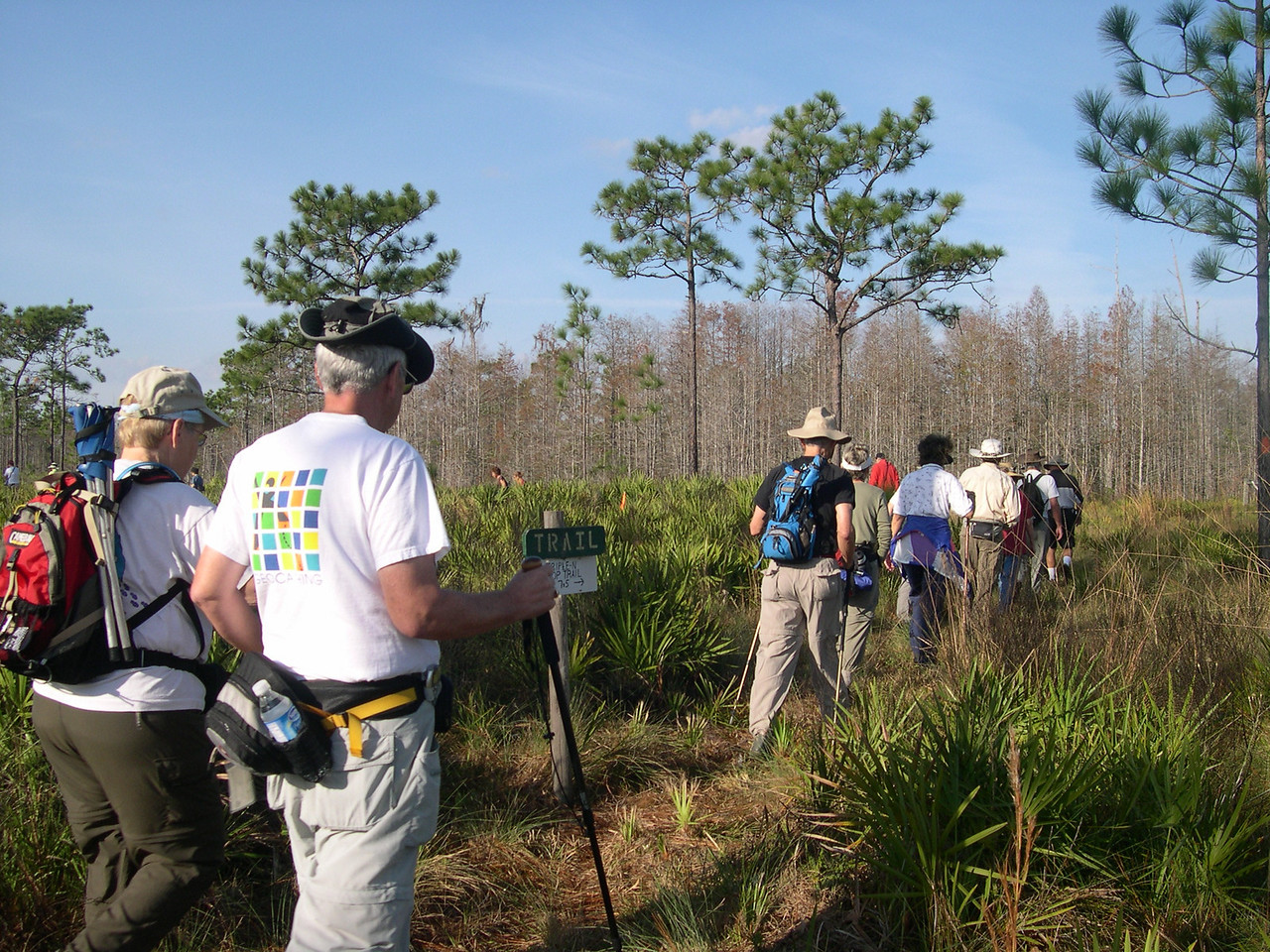 Hiking the loop at Triple N Ranch in Holopaw<br /> PHOTO CREDIT: Susan Young / Florida Trail Association