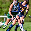 WINTHROP, ME - OCTOBER 6: Winthrop's Maddie Perkins, left, tries to get past Boothbay's Sydney Blake during a field hockey game Wednesday October 6, 2021 on Kelsey Ann Stoneton Memorial Field in Winthrop. (Staff photo by Joe Phelan/Staff Photographer)
