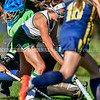 WINTHROP, ME - OCTOBER 6: Winthrop's Maddie Perkins cuts through Boothbay defense to score and tie the school record during a field hockey game Wednesday October 6, 2021 on Kelsey Ann Stoneton Memorial Field in Winthrop. (Staff photo by Joe Phelan/Staff Photographer)