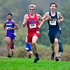 Mt. Ararat's Logan Munsey, left, and Mt. Blue's Tomas Cundick race in the Kennebec Valley Athletic Conference cross country championship Saturday at Cony High School in Augusta.   — Joe Phelan/Kennebec Journal