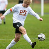 CHINA, ME - OCTOBER 26: Cape Elizabeth's Tiernan Lathrop passes the ball during a Class B South soccer quarterfinal game Tuesday October 26, 2021 at Erskine Academy in China. (Staff photo by Joe Phelan/Staff Photographer)