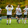 CHINA, ME - OCTOBER 26: Capers celebrate after a first half goal during a Class B South soccer quarterfinal game Tuesday October 26, 2021 at Erskine Academy in China. (Staff photo by Joe Phelan/Staff Photographer)