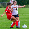 AUGUSTA, ME - SEPTEMBER 21: Cony's Brianna Rousseau, left, and Gardiner's Lilly Diversi fight for position during a soccer game Tuesday September 21, 2021 at the CAYSA field in Augusta. (Staff photo by Joe Phelan/Staff Photographer)