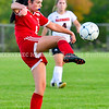 AUGUSTA, ME - SEPTEMBER 21: Cony's Emma Dorion kicks during a soccer game Tuesday September 21, 2021 at the CAYSA field in Augusta. (Staff photo by Joe Phelan/Staff Photographer)