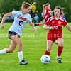 AUGUSTA, ME - SEPTEMBER 21: Gardiner's Lainey Cooley, left, tries to get ball past Cony's Gabby Tibbetts during a soccer game Tuesday September 21, 2021 at the CAYSA field in Augusta. (Staff photo by Joe Phelan/Staff Photographer)
