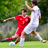 AUGUSTA, ME - SEPTEMBER 3: Cony's Martin Ferrusca, left, tries to get past Waterville defender Jaden Grazulis during a soccer game Friday September 3, 2021 in Augusta. (Staff photo by Joe Phelan/Staff Photographer)