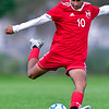 AUGUSTA, ME - SEPTEMBER 3: Cony's Yousif Ibrahim winds up to kick the ball during a soccer game Friday September 3, 2021 in Augusta. (Staff photo by Joe Phelan/Staff Photographer)