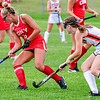 GARDINER, ME - SEPTEMBER 7: Cony's Madison Veilleux, left, tries to keep ball away from Gardiner's Meagan Ladner during a field hockey game Tuesday September 7, 2021 on Somerville Field in Gardiner. (Staff photo by Joe Phelan/Staff Photographer)