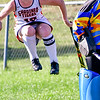 GARDINER, ME - SEPTEMBER 7: Gardiner captain Leah Pushard jumps for joy after scoring goal to give Tigers 1-0 lead over Cony Rams during a field hockey game Tuesday September 7, 2021 on Somerville Field in Gardiner. (Staff photo by Joe Phelan/Staff Photographer)