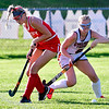 GARDINER, ME - SEPTEMBER 7: Cony's Maci Freeman, left, and Gardiner's Dewey Clary go for the ball during a field hockey game Tuesday September 7, 2021 on Somerville Field in Gardiner. (Staff photo by Joe Phelan/Staff Photographer)