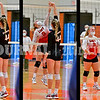 GARDINER, ME - SEPTEMBER 29: Cony 9 Ashley Tobias and Gardiner 44 Lizzy Gruber between sets of a volleyball match Wednesday September 29, 2021 in the in the James A. Bragoli Memorial Gym at Gardiner Area High School. (Staff photo by Joe Phelan/Staff Photographer)
