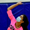 OAKLAND, ME - SEPTEMBER 14: Cony's Zainab Albraihi serves during a volleyball game  Tuesday September 14, 2021 at Messalonskee High School in Oakland. (Staff photo by Joe Phelan/Staff Photographer)