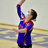OAKLAND, ME - SEPTEMBER 14: Messalonskee's Alivia Johnston serves during a volleyball game  Tuesday September 14, 2021 at Messalonskee High School in Oakland. (Staff photo by Joe Phelan/Staff Photographer)