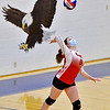 OAKLAND, ME - SEPTEMBER 14: Cony's Kristin Merrill serves during a volleyball game Tuesday September 14, 2021 at Messalonskee High School in Oakland. (Staff photo by Joe Phelan/Staff Photographer)