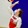 OAKLAND, ME - SEPTEMBER 14: Cony 13 Isabella Coco serves during a volleyball game  Tuesday September 14, 2021 at Messalonskee High School in Oakland. (Staff photo by Joe Phelan/Staff Photographer)