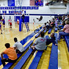 OAKLAND, ME - SEPTEMBER 14: Messalonskee, left, and Cony volleyball teams play wearing masks in front of spectators  Tuesday September 14, 2021 at Messalonskee High School in Oakland. (Staff photo by Joe Phelan/Staff Photographer)