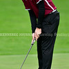 BRUNSWICK, ME - SEPTEMBER 30: Edward Little's Connor Turcotte putts during KVAC golf championship Thursday September 30, 2021 at Brunswick Golf Club. (Staff photo by Joe Phelan/Staff Photographer)