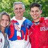 LEWISTON, ME - AUGUST 6:   <br /> Bruce Bickford, center, and his children Hannah, left, and Landon, pose for a photo wearing 1988 Team USA jackets  Friday August 6, 2021 in Lewiston. Bickford ran the 10,000 meters for Team USA at 1988 Olympics in Seoul, South Korea. (Staff photo by Joe Phelan/Staff Photographer)