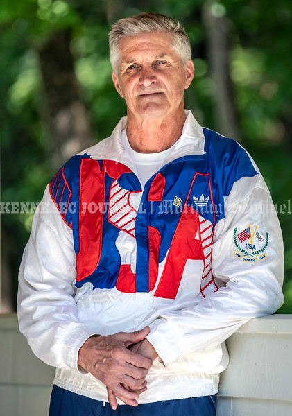 LEWISTON, ME - AUGUST 6: Bruce Bickford poses in his team USA Friday August 6, 2021 in Lewiston. Bickford ran the 10,000 meters for Team USA at 1988 Olympics in Seoul, South Korea. (Staff photo by Joe Phelan/Staff Photographer)