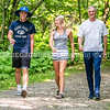 LEWISTON, ME - AUGUST 6:   <br /> Bruce Bickford, right, and his children Landon, left, and Hannah, pose for a photo walking on trails Friday August 6, 2021 in Lewiston. Bickford ran the 10,000 meters for Team USA at 1988 Olympics in Seoul, South Korea. (Staff photo by Joe Phelan/Staff Photographer)