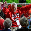 AUGUSTA, ME - OCTOBER 16: Philanthropist Robert Fuller waves to the crowd during opening ceremony before <br /> football game Saturday October 16, 2021 on Cony's Fuller Field in Augusta. (Staff photo by Joe Phelan/Staff Photographer)