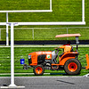 AUGUSTA, ME - OCTOBER 6: <br /> A worker backing up a tractor rolls out field turf Wednesday October 6, 2021 onto Cony High School's Fuller Field in Augusta. There are plans to have a football game on the new field on Oct. 16th. (Staff photo by Joe Phelan/Staff Photographer)