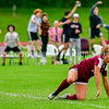 MONMOUTH, ME - OCTOBER 5: Fans cheer as Monmouth/Winthrop midfielder Brooklyn Federico, left, celebrates after scoring against Hall-Dale during a soccer game Tuesday October 5, 2021 at Monmouth Academy. (Staff photo by Joe Phelan/Staff Photographer)