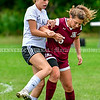 MONMOUTH, ME - OCTOBER 5: Hall-Dale's Lucy Gray, left, and Monmouth/Winthrop Averie Silva fight for the ball <br /> during a soccer game Tuesday October 5, 2021 at Monmouth Academy. (Staff photo by Joe Phelan/Staff Photographer)