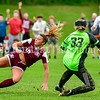 MONMOUTH, ME - OCTOBER 5: Monmouth/Winthrop midfielder Brooklyn Federico, left, watches her shot go into the net after colliding with Hall-Dale goalie Aubrey Gilbert during a soccer game Tuesday October 5, 2021 at Monmouth Academy. (Staff photo by Joe Phelan/Staff Photographer)